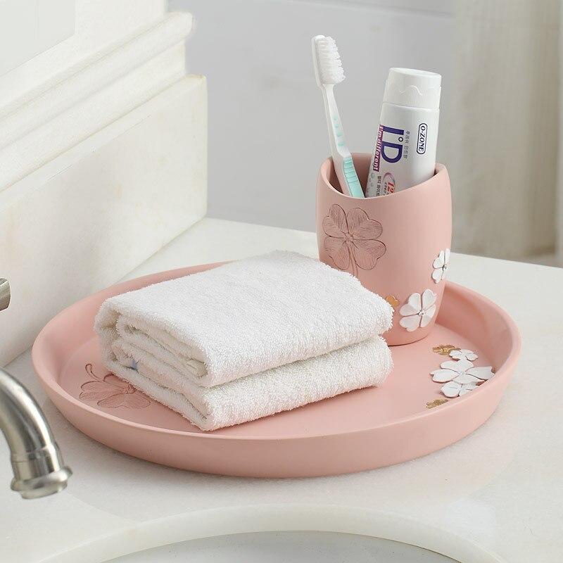 Ensemble de salle de bain de 6 articles de toilette en résine articles sanitaires cadeaux de mariage cadeaux de mariage accessoires de salle de bain ensemble distributeur de savon brosse à dents - 3