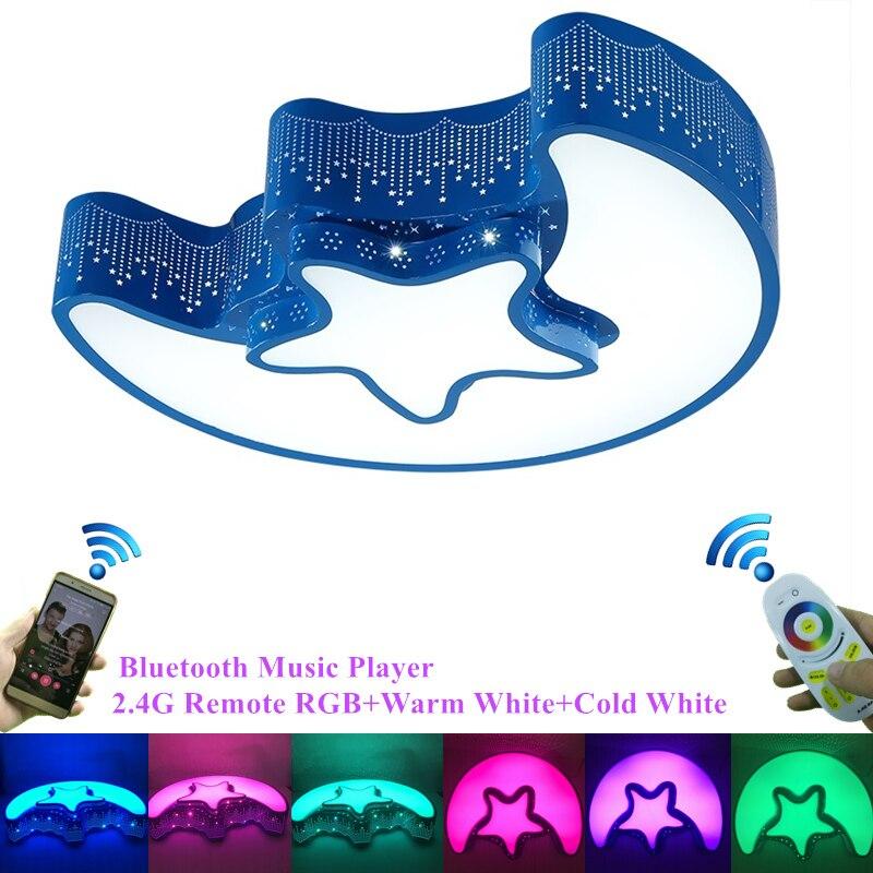 Здесь продается  Modern 2.4G Remote Bluetooth Music Player RGB Colorful Children Ceiling Lamp Moon Star Lovely Bedroom Ceiling Lights Art Deco  Свет и освещение