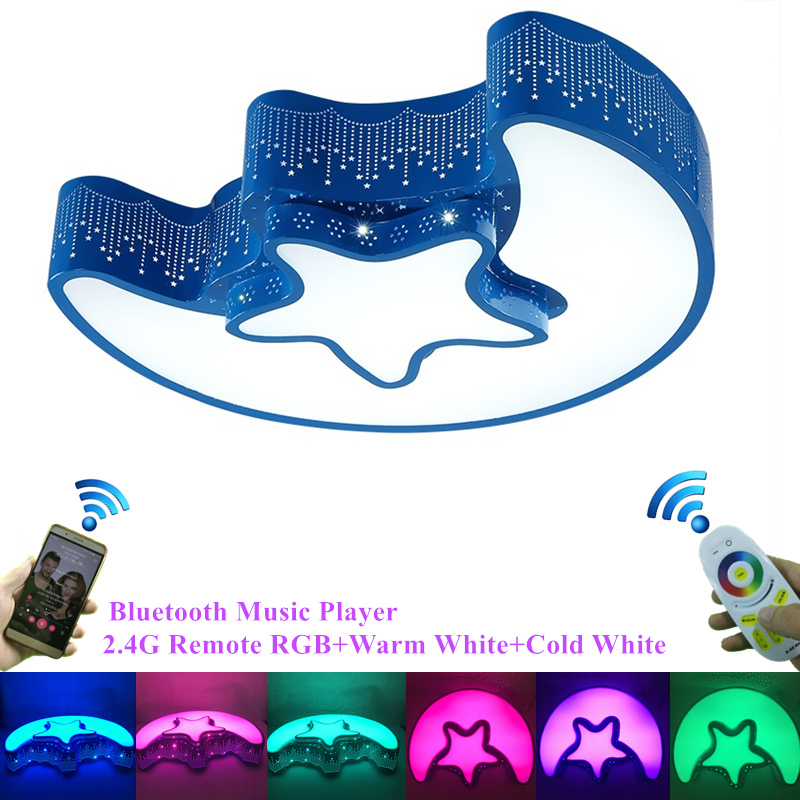 Modern 2.4G Remote Bluetooth Music Player RGB Colorful Children Ceiling Lamp Moon Star Lovely Bedroom Ceiling Lights Art Deco