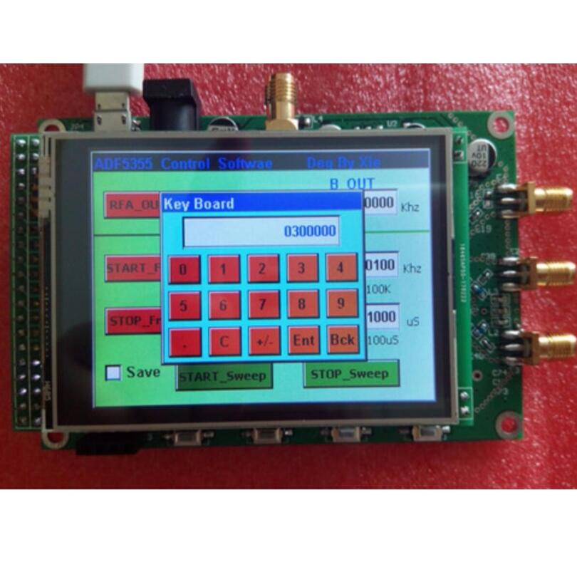 ADF5355 module touch color screen lcd sweep RF signal source VCO microwave PCB frequency synthesizer PLL