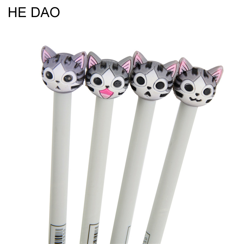 4 Pcs 0.5mm New Arrival Cute Cheese Cat Gel Ink Pen Promotional Gift Stationery School Office Supply Fod