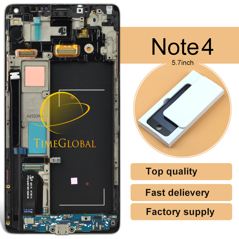 DHL 5pcs For Samsung Note 4 N910V LCD Display Touch Screen Digitizer Glass Original Assembly with frame Grey or white colors original 100% test lcd display touch screen digitizer assembly for samsung galaxy note edge n915 white with tempered glass tools