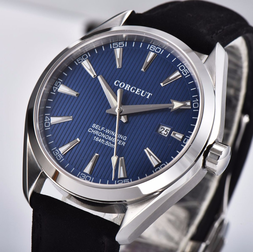 Luxury brand Corgeut 41mm men clock leather calendar Automatic relogio masculino blue Dial Sapphire Glass men watchLuxury brand Corgeut 41mm men clock leather calendar Automatic relogio masculino blue Dial Sapphire Glass men watch