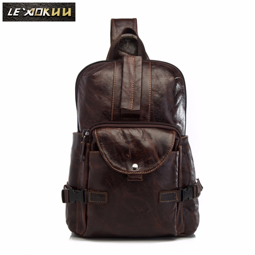 Men Original Crazy Horse Leather Casual Fashion Crossbody Chest Sling Bag Design Travel One Shoulder Bag Daypack Male 3028