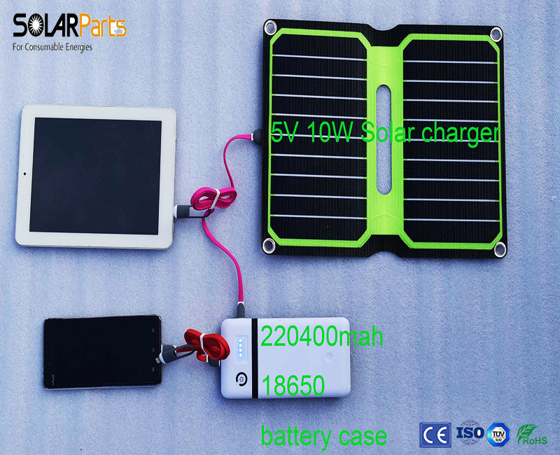 Boguang Portable Solar charger with solar panel+18650 power bank battery case+Multifunctional USB cable can charger.