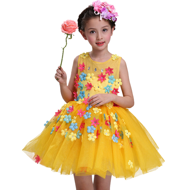 New summer baby girl Clothes print flower girl dress for wedding girls party dress with bow dress 10
