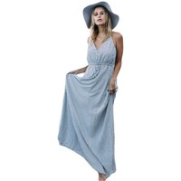 Long Vintage Boho Dresses For Women Sexy Ladies Turquoise Tropical Leaf Print Sexy Maxi Beach Summer