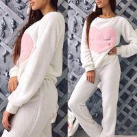 Hirigin Winter Warm Cotton Ladies Novelty Fleece Full Length Long Sleeve 2PCS Pajama Set Lounge Wear