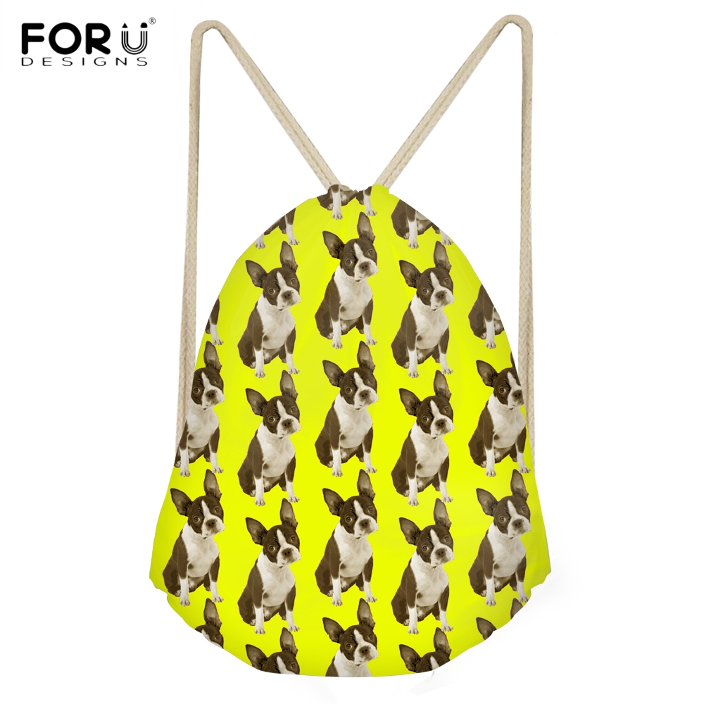 FORUDESIGNS Casual Students Backpacks for Teens Girls Kawaii Dog Boston Terrier Large Drawstrings Bags Yellow Storage Sack Bags