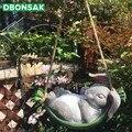 Качели для двора  имитация кроликов  резиновые качели для животных  Висячие садовые растения  карликовые микро Ландшафтные садовые украшен...