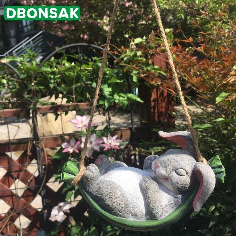 Courtyard Swing Simulation Rabbit Resin Animal Swing Hanging Garden Plant Dwarf Micro Landscape Gardening Garden Decoration