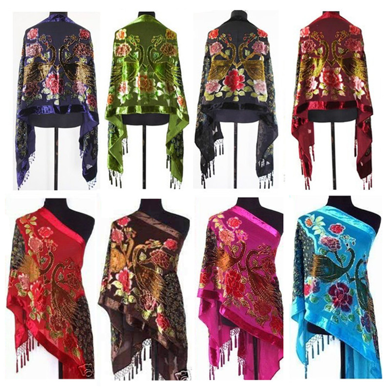 2019 New Fashion Lady Women Animal Peacock Handmade Beaded Velvet Silk Tassels Rectangle Embroidered Scarf Shawl Wrap 50cm*170cm