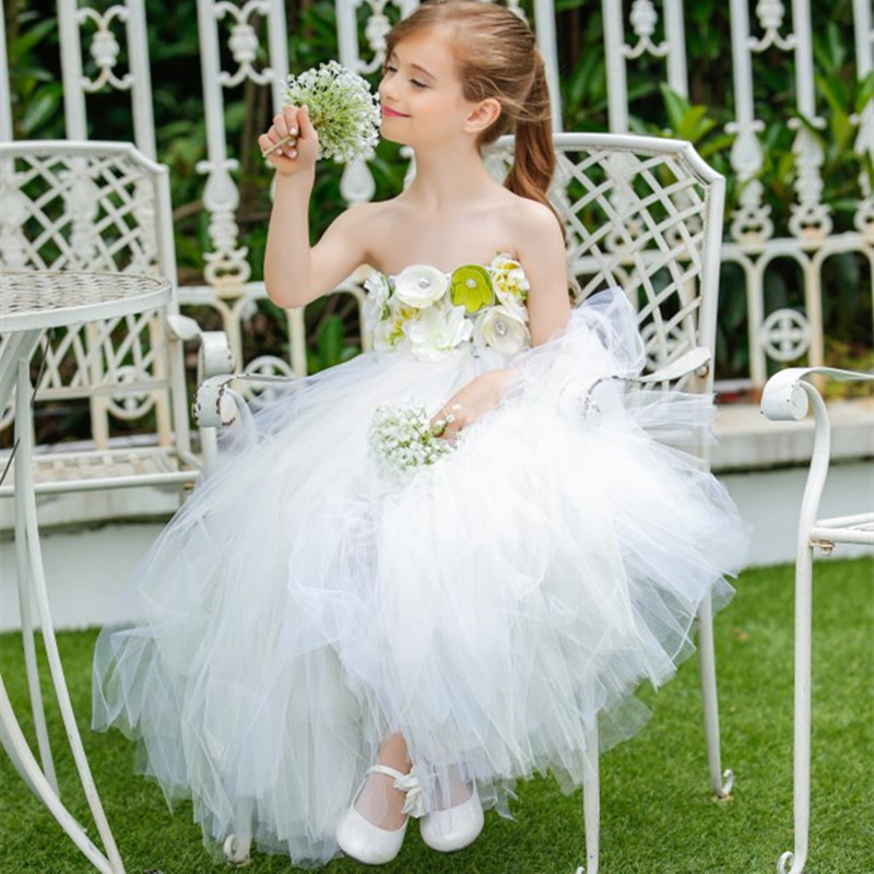 New Flower Girl Dresses White Tutu Dress For Girls Party Bridesmaid Wedding Gown Children Kids Pageant Prom Tulle Princess Dress