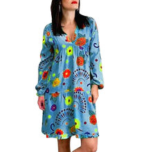 Womail Boho Ethnic Women Loose Dresses Long Sleeve Women Dresses Plus Size 5xl 6xl 7xl Floral Print Long Sleeve Casual Dress(China)