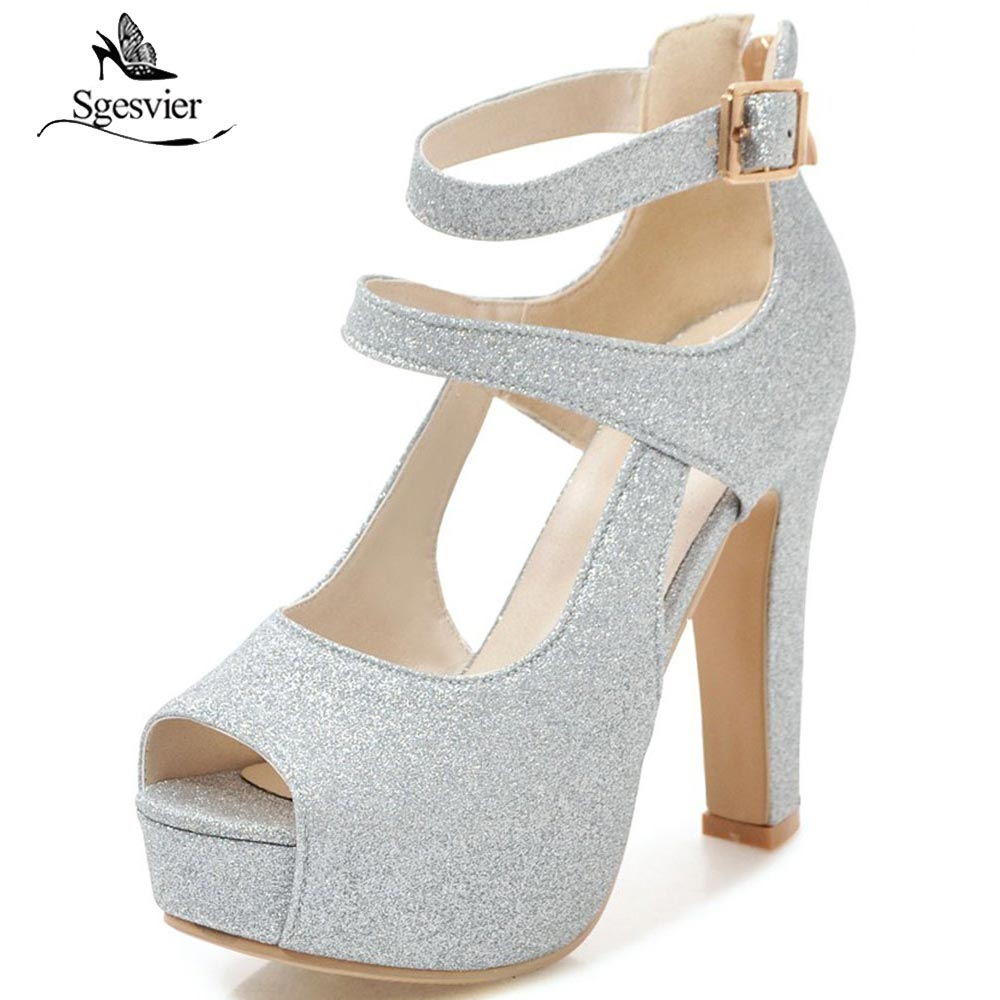 SGESVIER Brand Snadals Fashion Shoes Woman Thick High Heels 12.5CM Buckle Sandals Gold Silver Sexy Women Shoes Size 31-43 OX361SGESVIER Brand Snadals Fashion Shoes Woman Thick High Heels 12.5CM Buckle Sandals Gold Silver Sexy Women Shoes Size 31-43 OX361