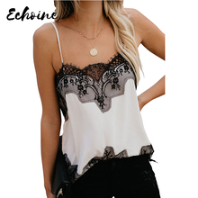 Echoine New Fashion Sexy Womens Summer Camis Tops Lace Leopard Patchwork Female Tank Black Adjustable