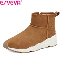 ESVEVA 2018 Women Boots Cow Leather Scrub Winter Shoes Wedges Med Heel Ankle Boots Warm Ladies