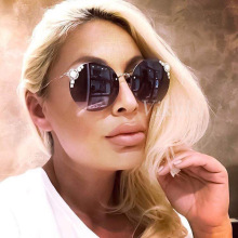 Round Rimless Sunglasses Women Vintage Diamond Crystal Sun G