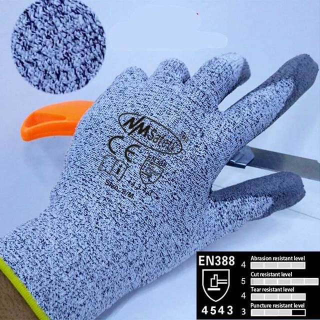 NMSafety Anti Knife Security Protection Glove with HPPE Liner Cut Resistant Safety Working Gloves