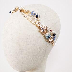 Image 3 - Blue Flower Bridal Headband Handmade Crystal Wedding Headpiece Prom Hair Jewelry 2019