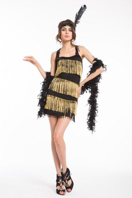 5 farben Sexy Quaste Fringe Kleid Flapper Mädchen 20s\' Retro Kostüm ...