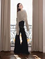 Женская высокая талия черный полная длина расклешенные брюки карманы на молнии Высокая мода дизайн длинные штаны 2019SS