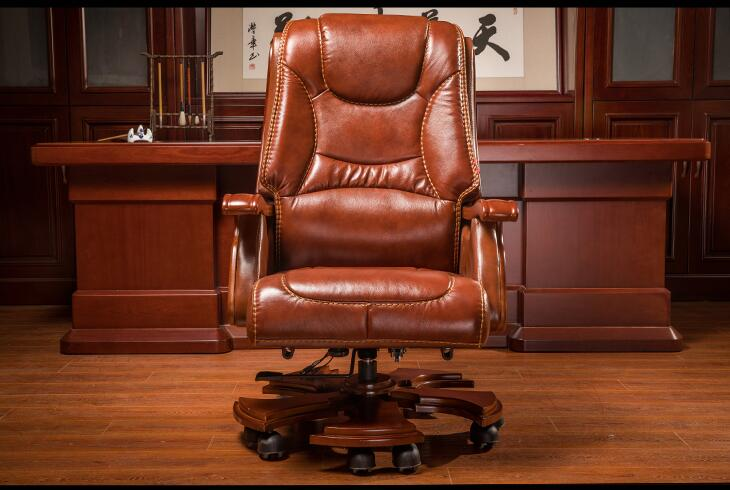 Купить с кэшбэком The boss chair is real leather. The home can be massaged leather big class chair seat. Computer chair..
