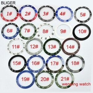 Image 5 - 1 шт. E2417 BLIGER 43 мм керамический черный стальной ремешок GMT функциональные часы автоматические мужские наручные часы