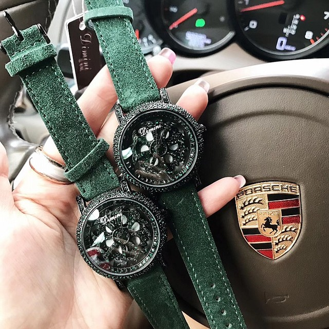 2019 Top Quality Luxury lady Crystal Watch Women Dress Watch.Fashion Plush Genuine Leather Watches Green Female Wristwatches