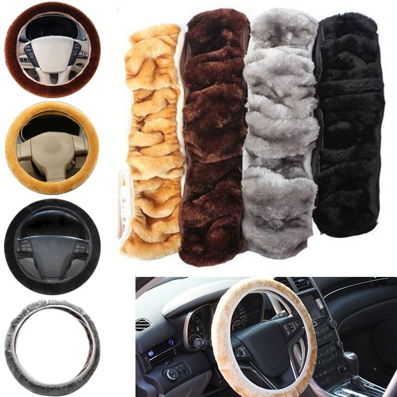 High Quality Universal Car Steering Wheel Cover Soft Warm Plush Winter Elastic Steering Wheel Cover Auto Supplies Car Accessorie