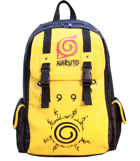 ФОТО New Double-Breasted Uzumaki Naruto Konoha PU Bag Shoulder Bag Backpack School Bags Travel Durable Teenager Computer Backpack