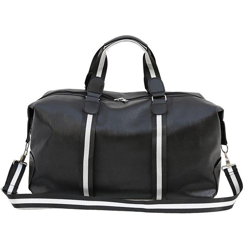 Black arge Capacity Handbag Men Women PU Leather Travel Bags