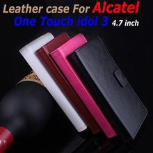 Роскошный кожаный чехол для Alcatel One Touch Idol 3 4.7 inch флип чехол с карты памяти OneTouch Idol 3 кожаный чехол чехол для телефона
