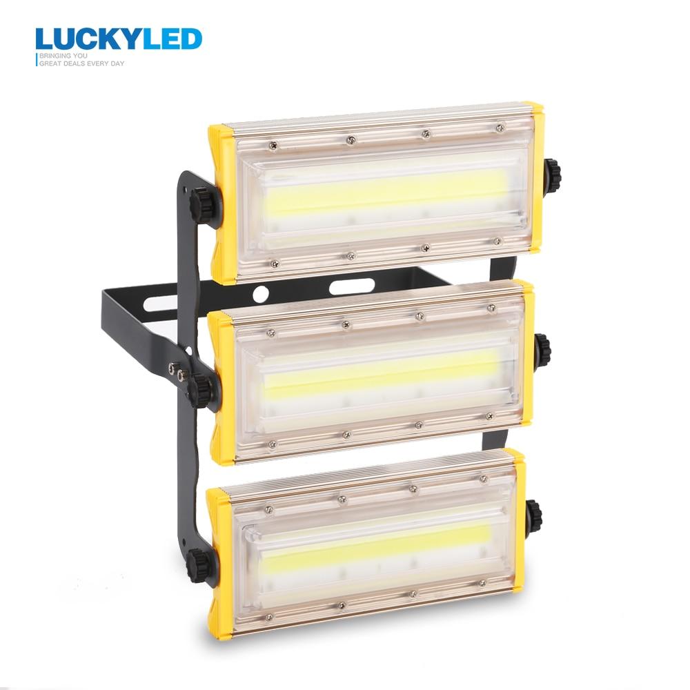 Luckyled llevó la luz de inundación 50 W 100 W 150 W reflector impermeable IP65 AC85-265V proyector al aire libre iluminación jardín lámpara