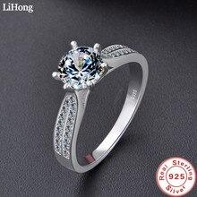 יוקרה תכשיטי סימולציה יהלומי טבעת 100% 925 סטרלינג כסף טבעת נשים של גבוהה תכשיטי אירוסין מבריק טבעת