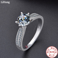 Luxury Jewelry Simulation Diamond Ring 100% 925 Sterling Silver Ring Womens High Jewelry Engagement Shiny Ring
