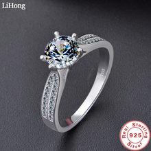 Luxury Jewelry Simulation Diamond Ring 100% 925 Sterling Silver Ring Women's High Jewelry Engagement Shiny Ring(China)