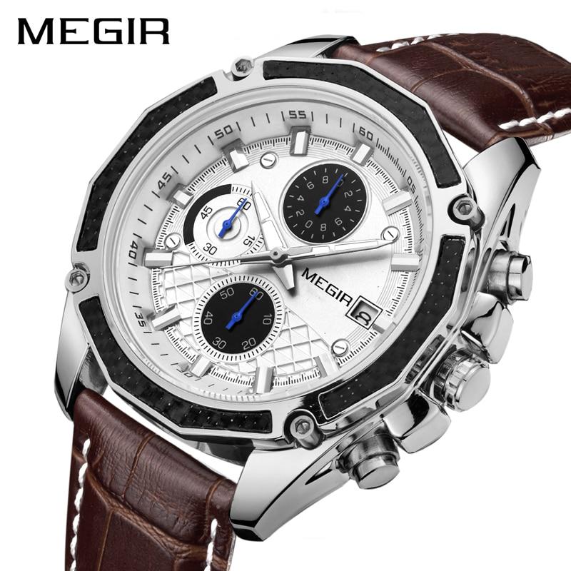 MEGIR Offizielle Quarz Männer Uhren Mode Echtem Leder Chronograph Uhr Uhr für Sanfte Männer Männlichen Studenten Reloj Hombre 2015