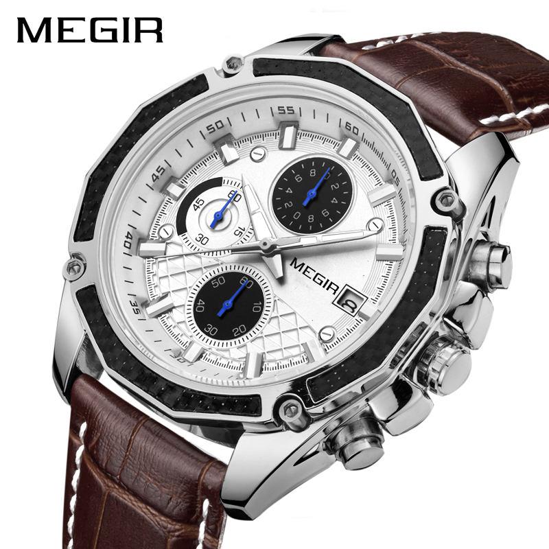 MEGIR Official Quartz Men Watches Fashion Genuine Leather Chronograph Watch Clock for Gentle Men Male Students Reloj Hombre