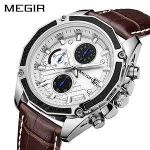Image 1 - MEGIR Official Quartz Men Watches Fashion Genuine Leather Chronograph Watch Clock for Gentle Men Male Students Reloj Hombre 2015