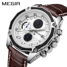 MEGIR Official Quartz Men Watches Fashion Genuine Leather Chronograph Watch Cloc