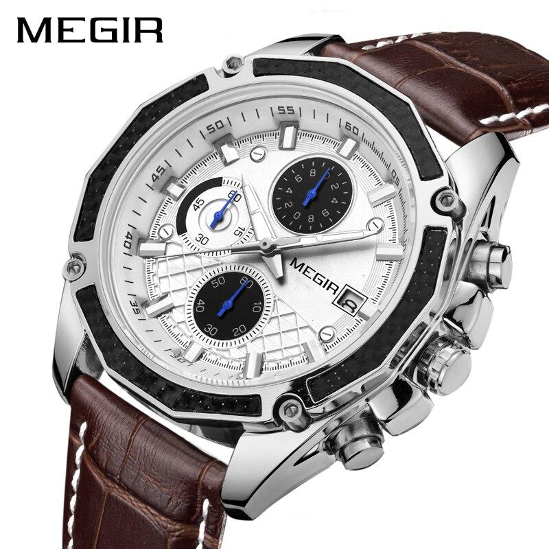 Saatler'ten Kuvars Saatler'de MEGIR resmi kuvars erkekler saatler moda hakiki deri kronograf saat saat beyefendi erkek öğrenciler Reloj Hombre 2015'da  Grup 1