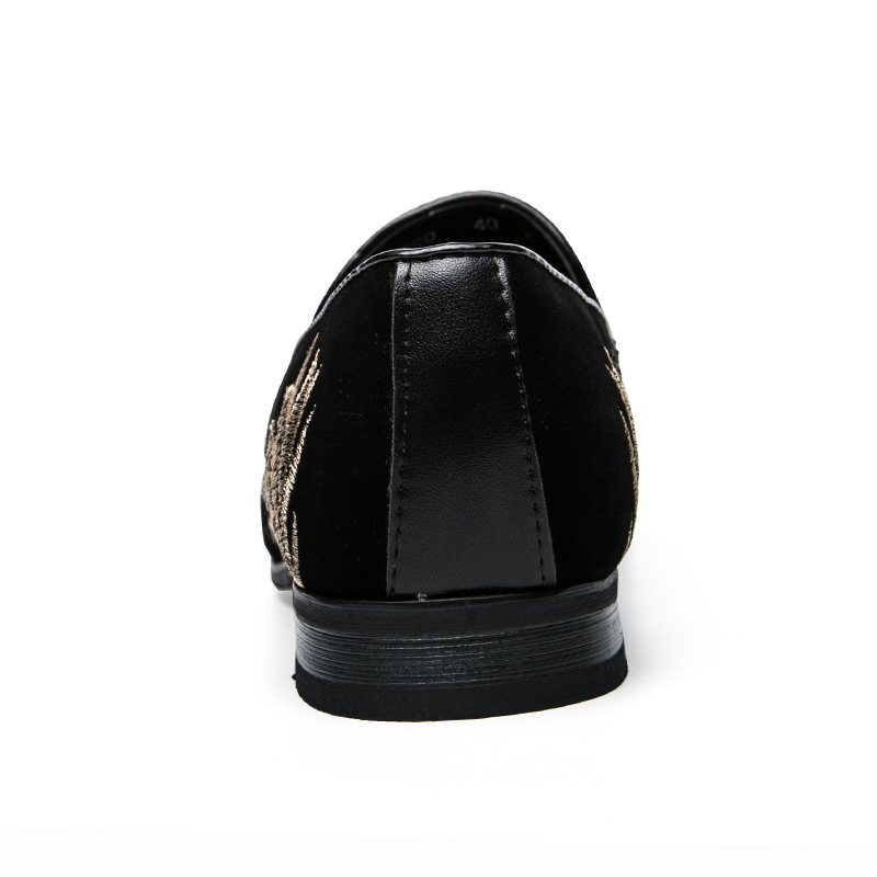 Broderie Appartements Printemps Cuir Tendance D'affaires Chaussures Noir Casual Hommes Chine Respirant En Pu 2019 De Bout Mocassins Pointu fPqWwE