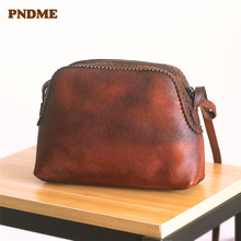 PNDME sleek minimalist genuine leather solid color Womens shoulder bag Mini shell ladies messenger