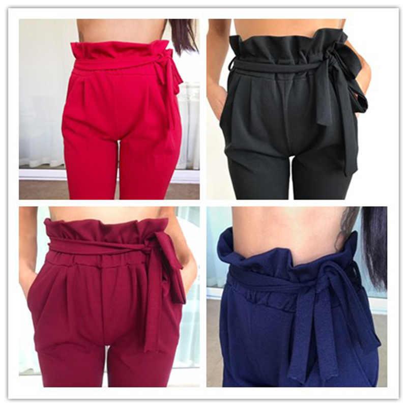 Pantalones Bombachos Modernos Para Mujer Pantalon Informal De Cintura Alta Con Cordon Color Blanco Y Negro Holgados 2018 Pantalon Femme Harem Pants Womenwomen Harem Pants Aliexpress