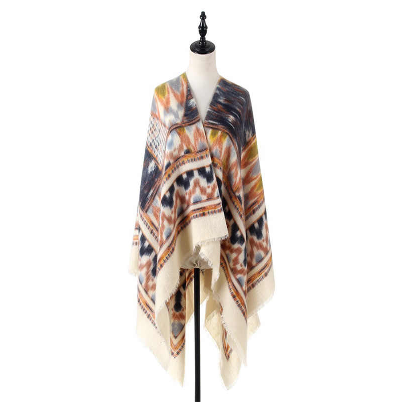 Bohemian Style Warm Women Scarf Blanket for Winter Cashmere Pattern Wraps and Knitted Geometric Female Pashmina Shawl