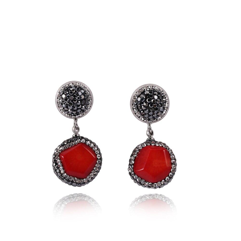 YNB Luxury Jewery Red Nature Stone Wedding Earrings for Women Party Long Earrings with Rhinestones High Quaity Vintage Earrings