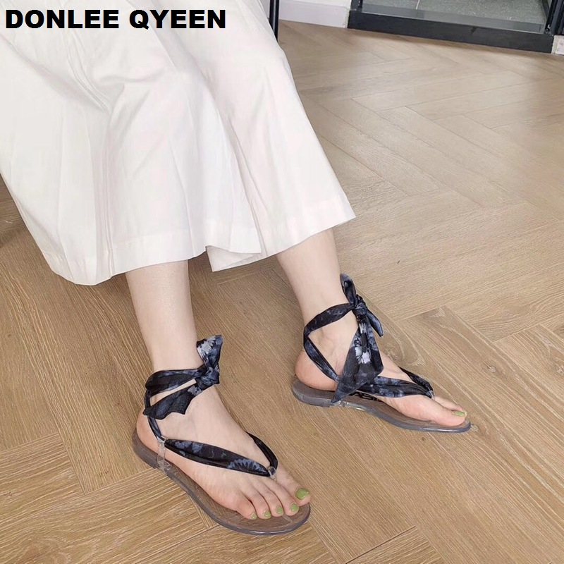 2019 New Summer Women Sandals Fashion Brand Ankle Strap Sandal Ribbon Shoes Flat Casual Slipper Beach Flip Flops sandalias mujer in Low Heels from Shoes