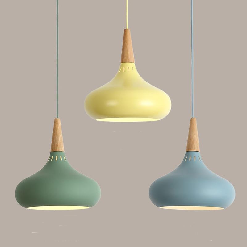 LED Hanglamp Vintage Loft Pendant Lights/Pendant Lamps Aluminum Suspension Luminaire Wood Hanging Lightings Kitchen Lustre Lampe-in Pendant Lights from Lights & Lighting