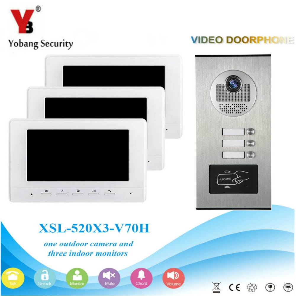 Yobang Security Wired 7 inch Monitor Dual Way Door Intercom for 3 Units Apartment Support Monitoring Unlock, RFID Keyfob Unlock
